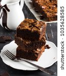 chocolate brownie cake piece... | Shutterstock . vector #1035628585