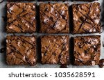 chocolate brownie cake piece... | Shutterstock . vector #1035628591