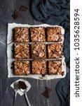 chocolate brownie cake piece... | Shutterstock . vector #1035628594