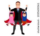 superdad cartoon character | Shutterstock .eps vector #1035630361