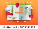 3d vector paper cut open book... | Shutterstock .eps vector #1035636505