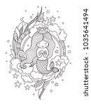 little queen mermaid with fish. ... | Shutterstock .eps vector #1035641494