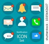 push notifications elements set.... | Shutterstock .eps vector #1035642637