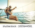 romantic couple in love on sail ...   Shutterstock . vector #1035644581