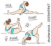 yoga asana with plump woman | Shutterstock .eps vector #1035645967