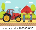 tractor farm.heavy agricultural ... | Shutterstock .eps vector #1035653455