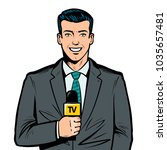 tv presenter with microphone in ... | Shutterstock .eps vector #1035657481
