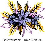 watercolor flowers illustration.... | Shutterstock . vector #1035664501