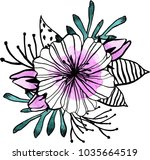 watercolor flowers illustration.... | Shutterstock . vector #1035664519