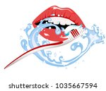woman smile and the toothbrush | Shutterstock .eps vector #1035667594