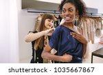 fashion designer trying new... | Shutterstock . vector #1035667867