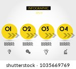 four yellow infographic circle... | Shutterstock .eps vector #1035669769