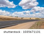 countryside road landscape with ... | Shutterstock . vector #1035671131