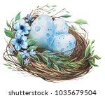 Watercolor Nest With Bird Eggs. ...