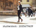 young pretty girl walk on the...   Shutterstock . vector #1035679639