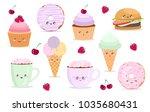vector cartoon stickers with... | Shutterstock .eps vector #1035680431
