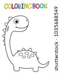 cute dino coloring book. | Shutterstock .eps vector #1035688549