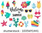 summer lettering. set hand... | Shutterstock .eps vector #1035691441
