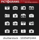 photo camera white icon set for ... | Shutterstock .eps vector #1035691444