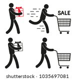 pictogram people with shopping... | Shutterstock .eps vector #1035697081