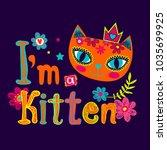 i'm kitten. purple background... | Shutterstock .eps vector #1035699925