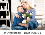 son congratulates his beloved... | Shutterstock . vector #1035700771