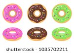colorful glazed donut set on... | Shutterstock .eps vector #1035702211