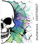 skull watercolor t shirt... | Shutterstock .eps vector #1035703027