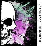 skull watercolor t shirt... | Shutterstock .eps vector #1035707677