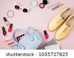 feminine accessories collage...   Shutterstock . vector #1035727825