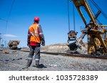 dump waste and unloading dumpcar | Shutterstock . vector #1035728389