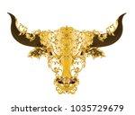 golden bull head with. vintage... | Shutterstock .eps vector #1035729679