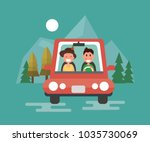 happy couple driving in their...   Shutterstock .eps vector #1035730069