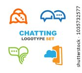 chatting logotype set. logo for ... | Shutterstock .eps vector #1035732577