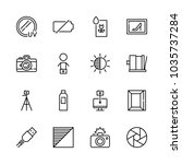icons camera with cable ... | Shutterstock .eps vector #1035737284
