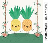 cute pineapples couple in... | Shutterstock .eps vector #1035744841