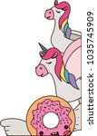 cute unicorns and donut kawaii... | Shutterstock .eps vector #1035745909