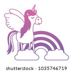 cute unicorn with rainbow... | Shutterstock .eps vector #1035746719