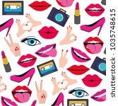 pop art stickers set icons | Shutterstock .eps vector #1035748615