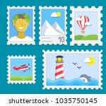 postage stamps vector flat set. | Shutterstock .eps vector #1035750145