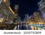 chicago downtown  illuminated...   Shutterstock . vector #1035752809