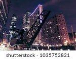 old closed kinzie bridge in... | Shutterstock . vector #1035752821