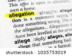 "Small photo of Highlighted English word ""allegation"" and its definition in the dictionary."