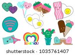 love. lovely set of cute patch. ... | Shutterstock .eps vector #1035761407