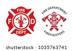 Fire department logos, set of modern and vintage