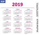 spanish calendar 2019 ... | Shutterstock .eps vector #1035765901