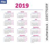 french calendar 2019 ... | Shutterstock .eps vector #1035770359