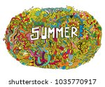 welcome summer doodle circle... | Shutterstock .eps vector #1035770917