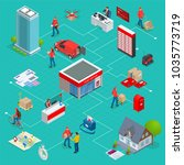 isometric infographics concept... | Shutterstock .eps vector #1035773719