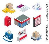 isometric set of post office ... | Shutterstock .eps vector #1035773725